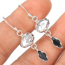 Herkimer Diamond & Black Onyx 925 Sterling Silver Earring Jewelry EE21973