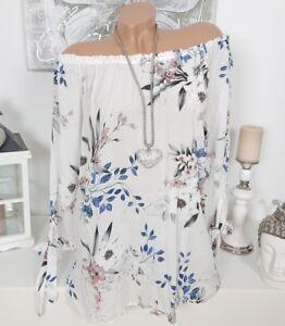 Italy Carmen Tunika Bluse Shirt Off Shoulder Blume Schleife 38 40 42
