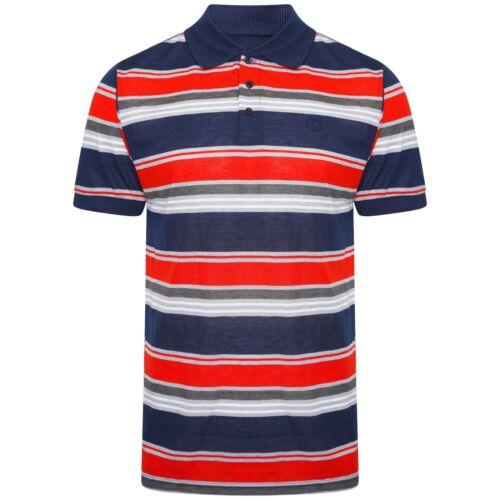 Mens Polo Shirts Summer Tee Striped Short Sleeve Casual Collar Value Shirt S-XXL