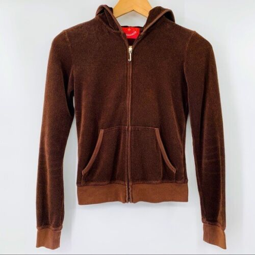 ADORABLE JUICY COUTURE P brown velour hoodie C