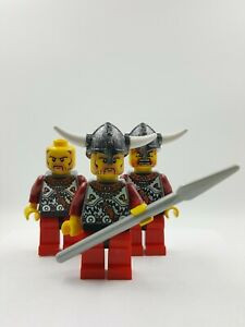 Lego-Mini-Figure-Minifigure-3-Bearded-Blue-Viking-Pawn-Warriors-w-Accessories