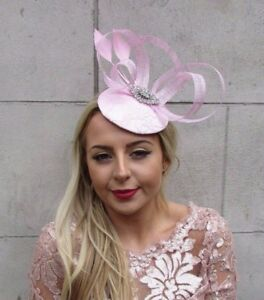 Image is loading Light-Baby-Pink-Silver-Feather-Pillbox-Hat-Fascinator- 5e281621561