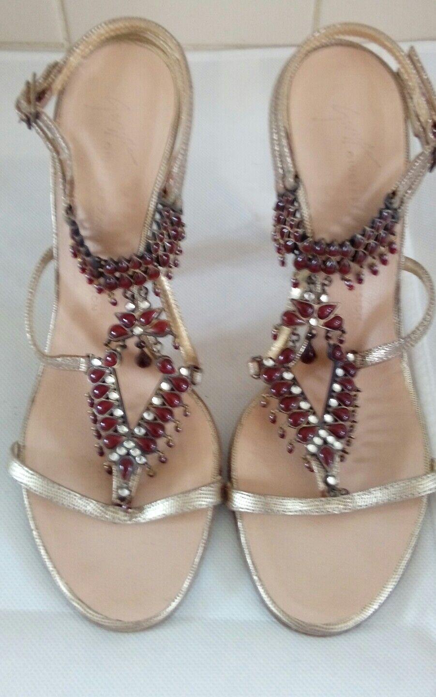 Stunning Giuseppe Zanotti jewelled heels, with rubies, UK 5 38 vgc