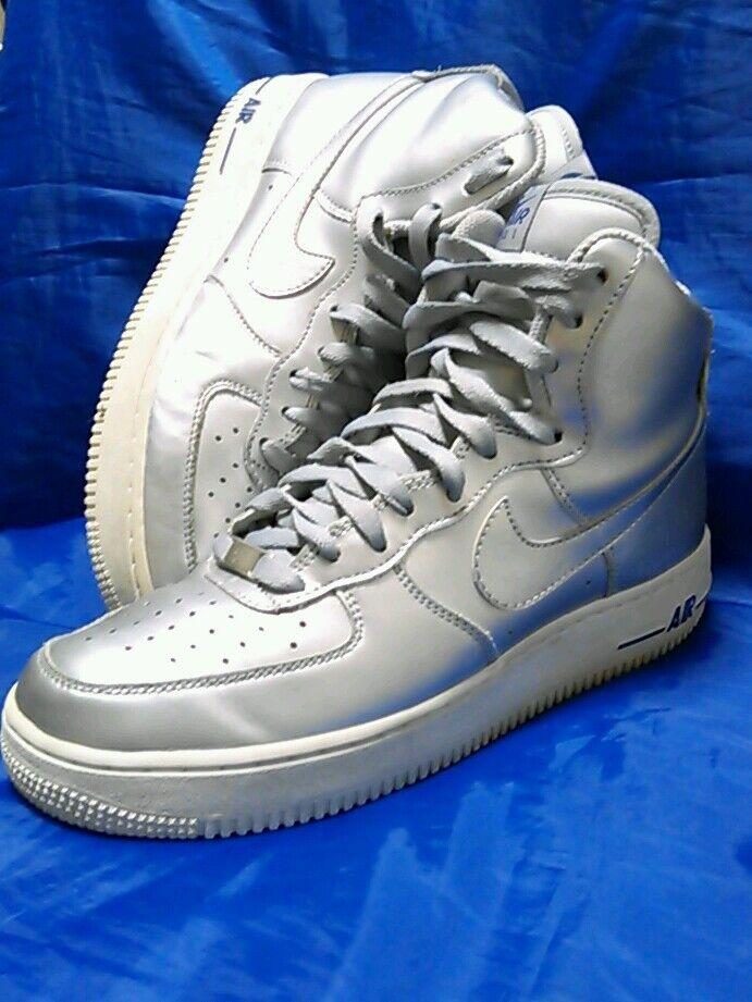 154506195f 2009 Nike Air Force 1 High Metallic Silver Grey Grey Grey Sz Mens/Youth 7.5