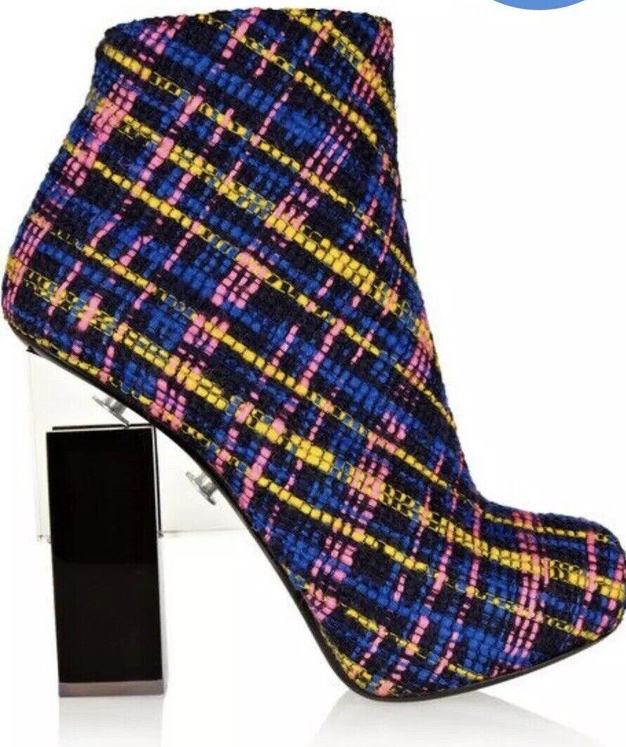 Nicholas Kirkwood Erdem Tweed and Perspex Ankle Boots Sz  5  Retail  1,400