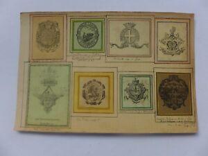 Ex-libris-ancien-Monogrammes-Armoiries-colles-sur-carton-CLOUZOT-NIORT