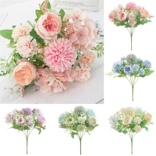 Silk Peony Artificial Fake Flower Bunch Bouquet Wedding Party  Home Garden Decor