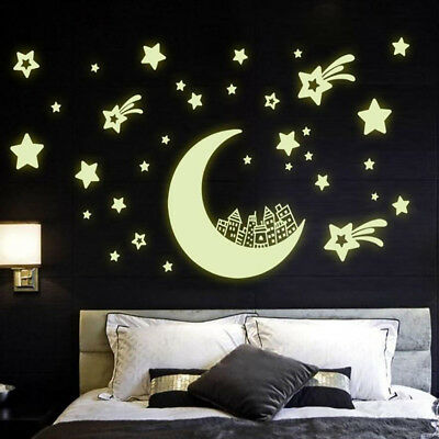 Room Decal Removable Moon and Stars Glow In The Dark  Bedroom Wall Stickers