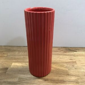 Fabulous Vintage Red Haeger Pottery Cylinder Vase Mid Century Modern Art Rare