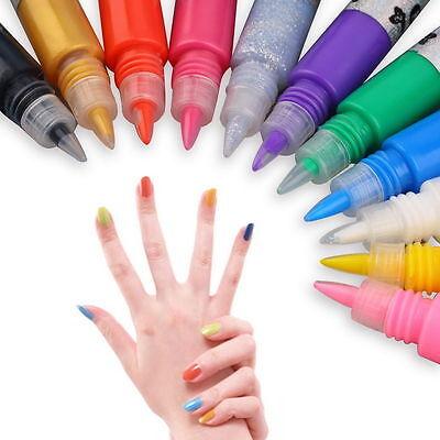 12 Colors 3D Finger Nail Paint Pen UV Gel Acrylic Nail Art Polish Set New