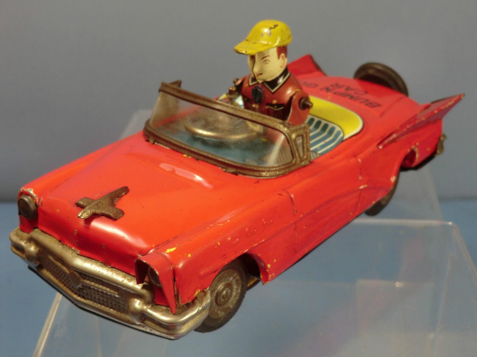 VINTAGE  YOSHIYA (K 0) JAPAN    TIN PLATE  WIND-UP  MODEL BUMP & GO CAR