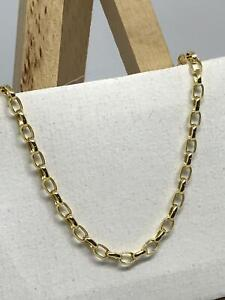 9ct-375-Hallmarked-Yellow-Gold-3mm-Oval-BELCHER-CHAIN-NECKLACE-ALL-SIZE