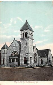 Indiana-In-Postcard-c1910-VINCENNES-First-ME-Church-Building