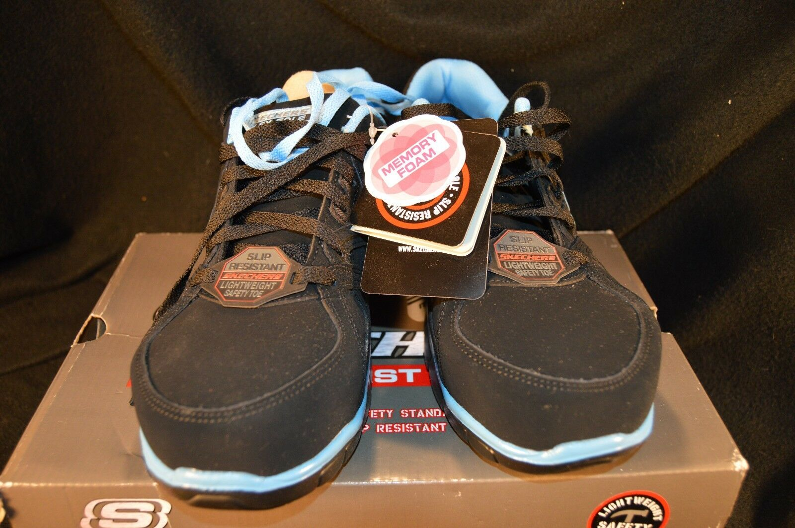 Skechers Work Synergy-Sandlot Womens Size 9 Black/Blue Sneakers Shoes 76553 NIB