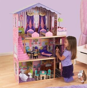 casa di barbie casa delle bambole la casa dei miei sogni in legno ebay. Black Bedroom Furniture Sets. Home Design Ideas