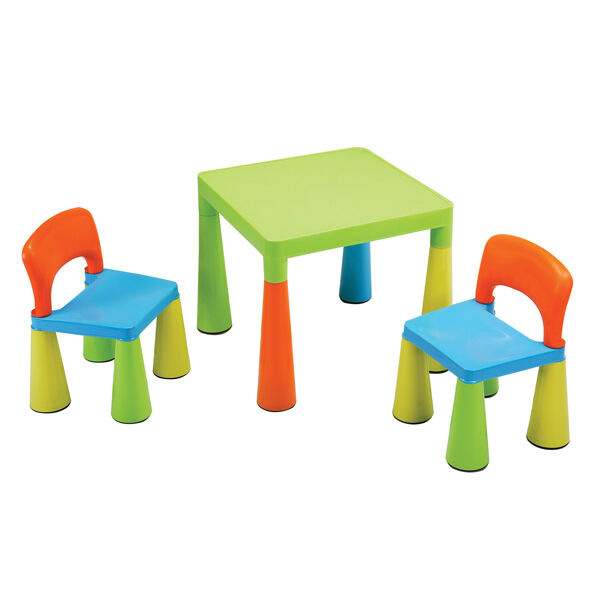 Children's Multi-Coloured Table & Chairs Set