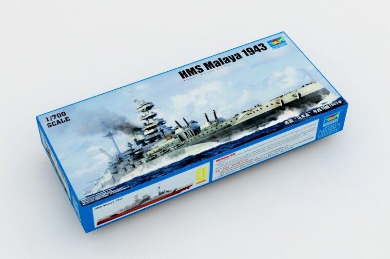 Kit de barco modelo 05799 Trumpeter 1 1 1 700 escala buque de guerra HMS Malaya 1943 acorazado 792f14