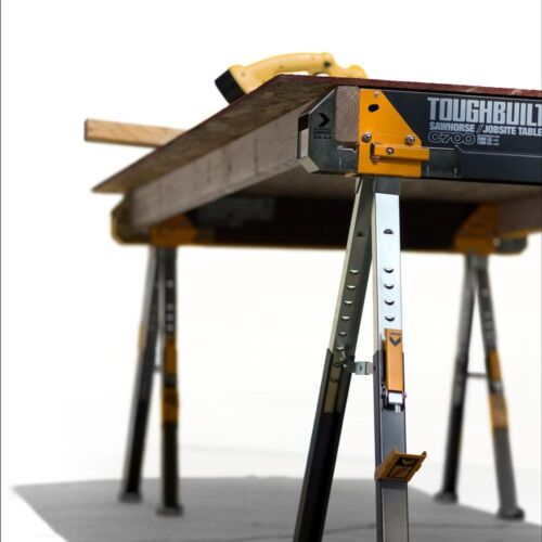 Load Adjustable Height Width TOUGHBUILT Sawhorse Jobsite Table Steel 1300 lb