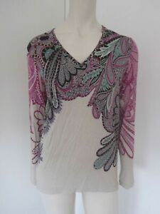 New Etro Long Sleeve Paisley Feather Print Top - 42 Italy