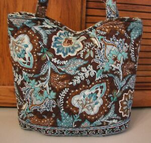 Vera-Bradley-Handbag-Blue-Brown-Print-PURSE-Over-Shoulder-Bag-Tote