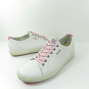 White Leather Spikeless Golf Shoes