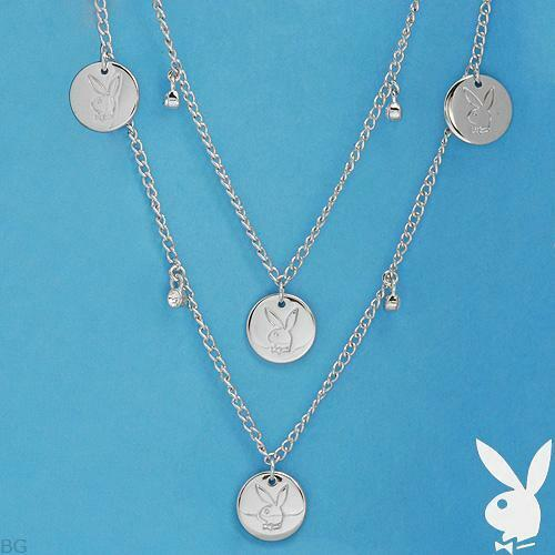 Playboy Necklace Silver Plated Crystal Bunny Logo Charm Long Wrap Layered NWT 3c