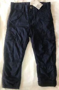 Nuevo Con Etiquetas H M Nino Chicos Forrado Sarga Pantalones Cargo Azul Marino 3 4 Anos Ebay