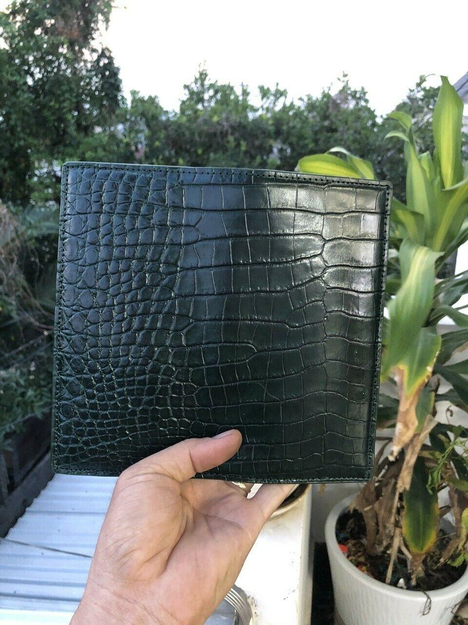 dark green Crocodile Alligator Belly Leather Zipper Clutch Long Wallet
