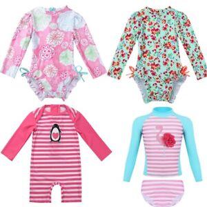 Infant-Baby-Girl-Long-Sleeve-Floral-Ruffle-Rash-Guard-Bathing-Swimsuit-Swimwear
