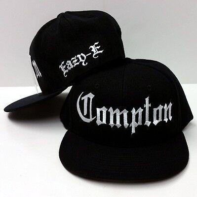 Eazy E Black Compton Flat Bill Snap Back Flat Stitching Baseball Cap Hat