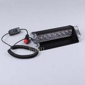 8-LED-Amber-White-Car-Police-Strobe-Flash-Light-Dash-Emergency-3-Flashing-Modes