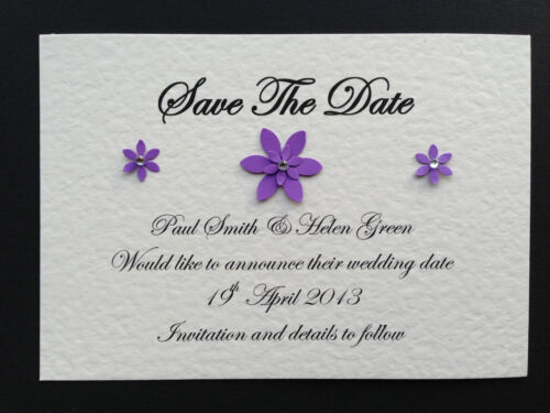 25 personalised handmade mariage save the date cartes aimant fleur /& strass