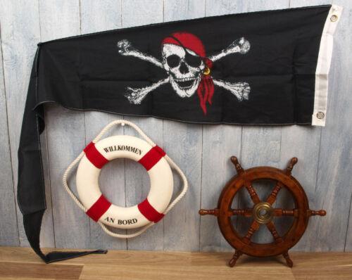 3-tlg Rettungsring 25cm r//w Set: Holz Steuerrad 30cm Wimpel 150x30cm maritim