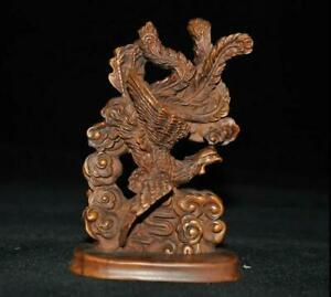 China-Boxwood-wood-Hand-carving-Feng-Shui-auspicious-Phoenix-bird-lucky-statue