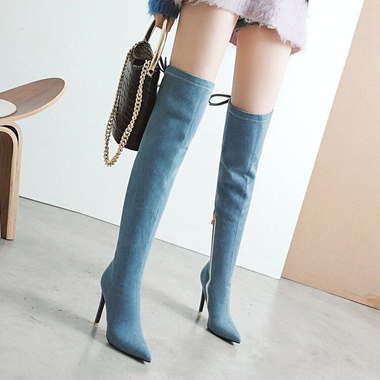 femmes Denim Over Knee bottes High Heels Pointed Toe Stiletto Party chaussures Side Zip