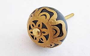 Ceramic black metal decor vintage style 4.5cm round door knob/pulls/han<wbr/>dles