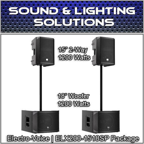 (2) Electro-Voice ELX200-15P Powered 15  1200 Watt Speaker, 18  Subwoofer & Pole