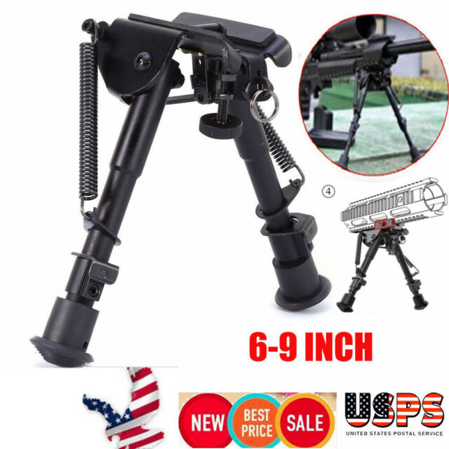 "Adjustable 6/"" to 9/"" Metal Pivot //Rotating Spring Return Rifle Bipod For Hunt"