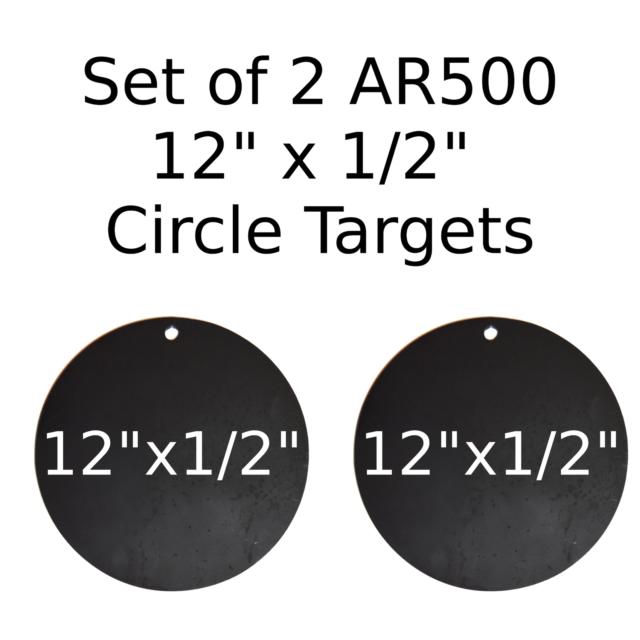"""One AR500 Steel Target Circle 1//2/"""" x 12/"""" Painted Black Shooting Practice Range"""