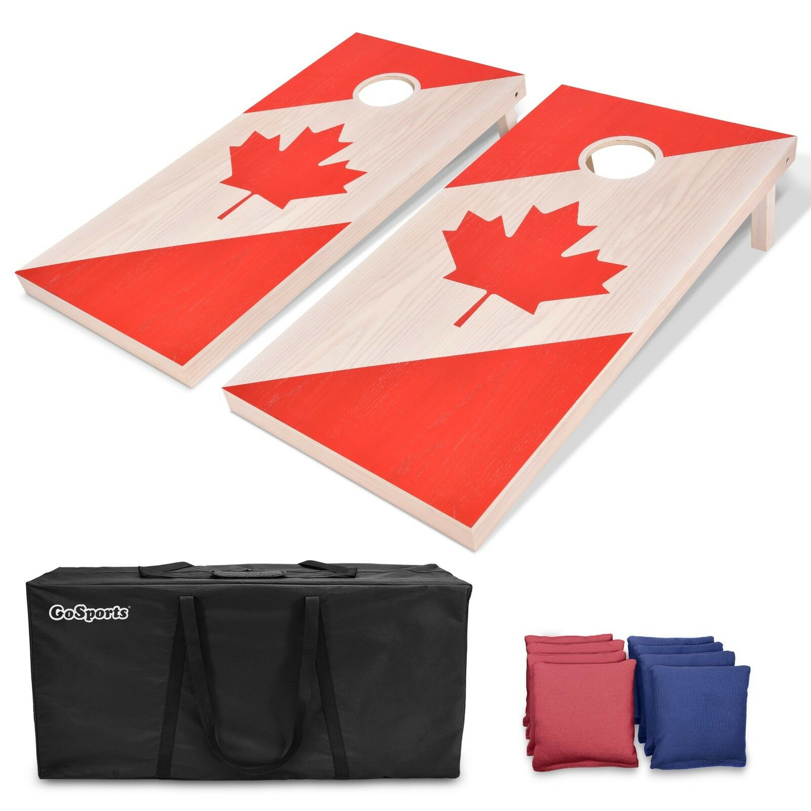 GoSports Canadian Flag Regulation Size 4'x2' Solid Wood Cornhole Game Set