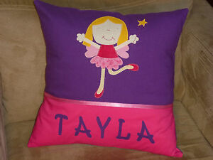 CHILD-039-S-GIRLS-PERSONALISED-NAME-CUSHION-COVER-NURSERY-SHOWER-GIFT-FAIRY
