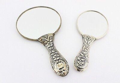 2x alte Handspiegel ACAR TURAN 900 Silber Blumenmuster Taschenspiegel