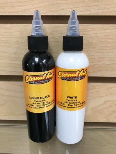 Eternal Tattoo Ink Professional Lining Black White Combo Deal Both 4 ...