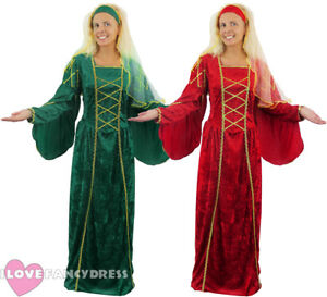 LADIES-TUDOR-QUEEN-COSTUME-FANCY-DRESS-MEDIEVAL-PRINCESS-DRESS-HEADPIECE-STD-XL