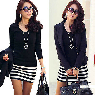 Sexy Lady Women Dress Long Sleeve Crew Neck Striped Slim Fit Party Summer Dress