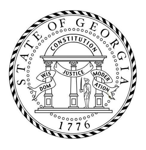 Great Seal for the State of Georgia Round Self Ink Rubber Stamp.