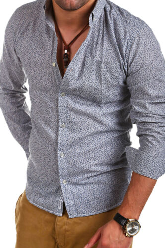 SHINE camicia con taschino per il tempo libero Camicia Navy//Grigio//Grigio Scuro Maglia Polo Nuovo