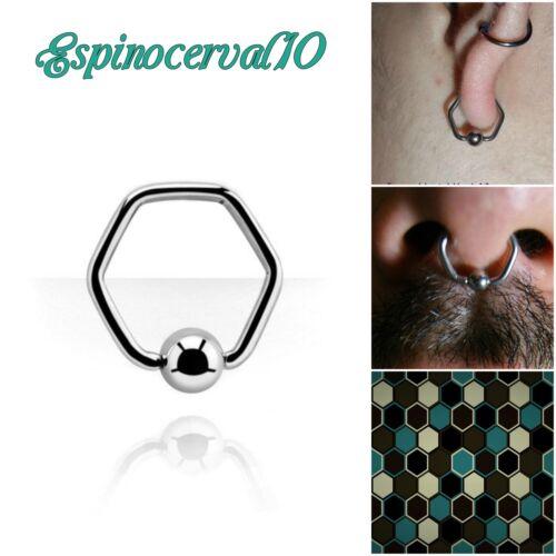 lóbulo pezón Stainless Steel puente nasal Piercings Aro Ring septum Hexágono