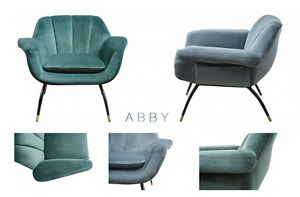 abby samt sessel retro cocktailsessel gr n grau blau samtbezug loungesessel ebay. Black Bedroom Furniture Sets. Home Design Ideas