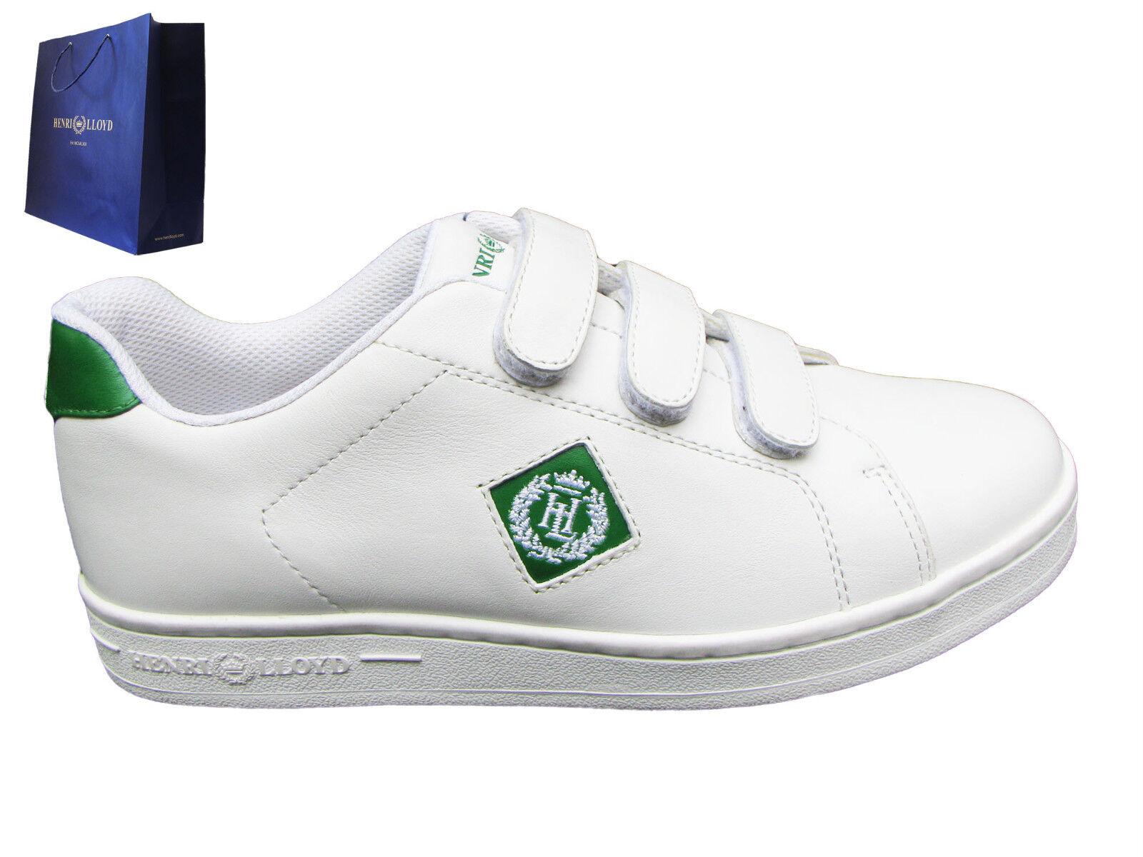 Neu Henri Lloyd Bild 3 Klettverschluss Herren Turnschuhe Weiß & Grün UK 8 Eu 42